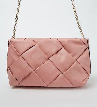 Pink woven cross body bag.