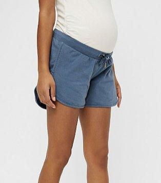 MAMALICIOUS maternity blue drawstring waist shorts.