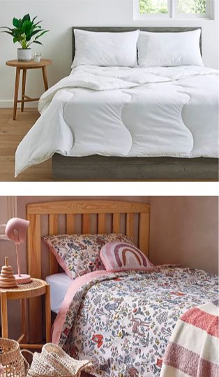 White room features double bed with wooden headboard, white mattress topper and two white pillows with round wooden side table topped with artificial plant. Room features single bed with floral bedding, check print throw and rainbow cushion with wooden side table topped with pink lamp.