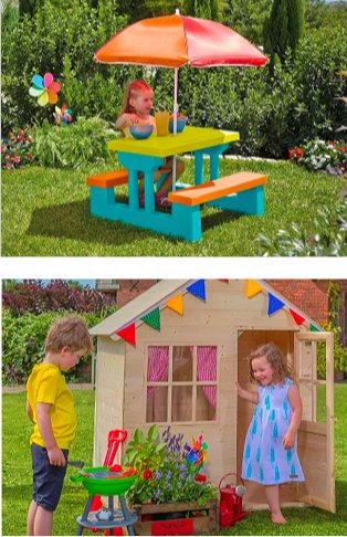 Garden features girl sat at kids garden table and bench set. Front garden with large house in the background features boy and girl playing outside TP forest the hideaway house surrounded by brightly coloured plants.