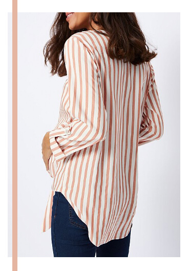 This striped button down blouse is a timeless design that goes perfectly with stretchy jeans