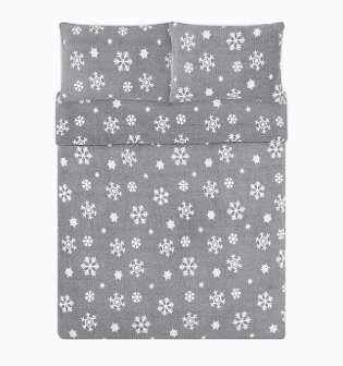 Grey Snowflake Teddy Reversible Duvet Set.