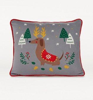 Multi Christmas Sausage Dog Print Cushion.