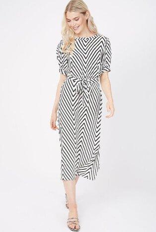 Woman wearing a white chevron midi dress