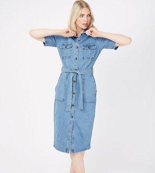 Woman wearing a blue denim button down midi shirt dress