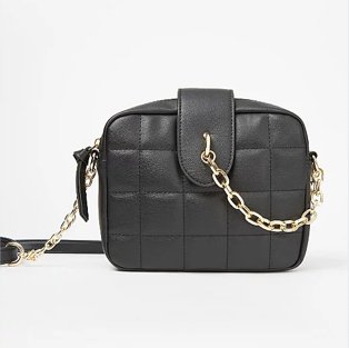 Black grid quilted cross body bag.