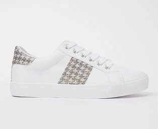 White houndstooth panel lace up trainers.