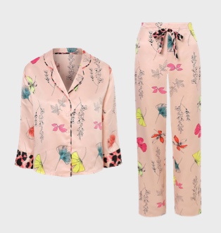 Peach printed satin pyjama shirt and bottoms