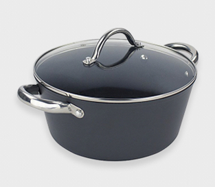 Pot with lid and chrome handles