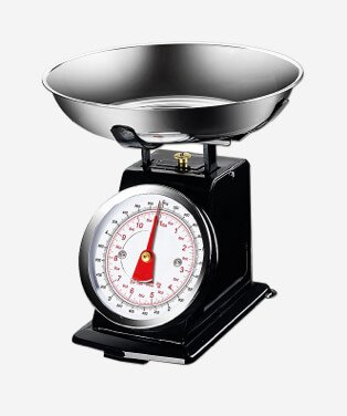 Black manual cooking scales.