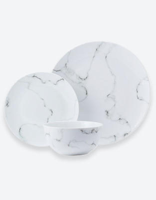 Marble effect plate, side plate and bowl