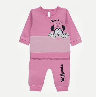 Pink Disney Mickey Mouse jumper and joggers outfit.