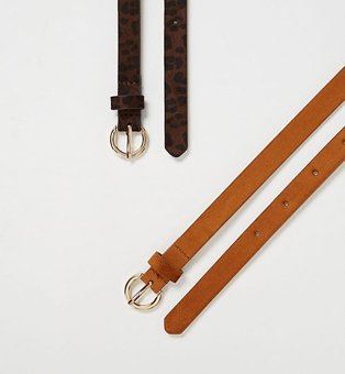 Two suede effect skinny belts in black and tan