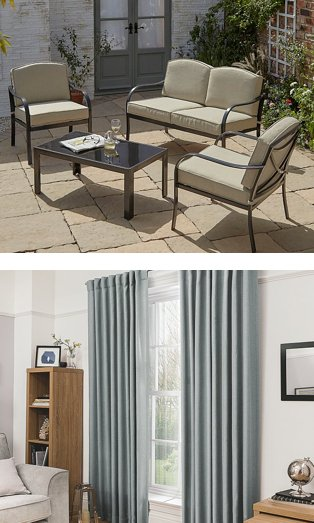Haversham 4 piece garden sofa set and blackout curtains in light grey