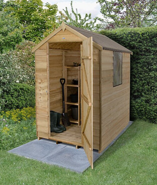 Apex shed in a garden with the door open