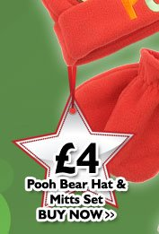 Pooh Bear Hat & Mitts Set £4
