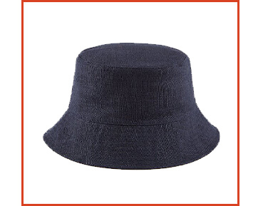Top off your look with a navy bucket hat