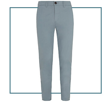 Lighten up your wardrobe with a pair of blue chinos