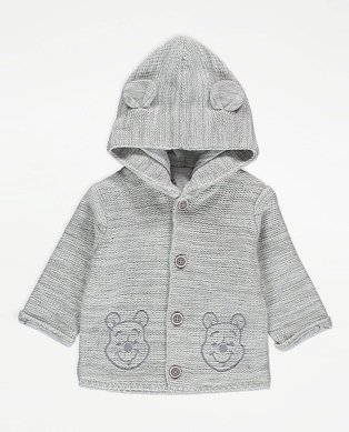 Disney Winnie the Pooh Grey Knitted Hooded Cardigan.