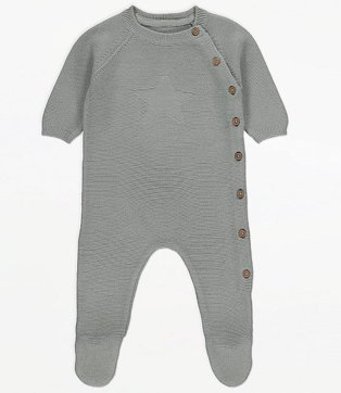Grey Knitted Star Motif Sleepsuit.