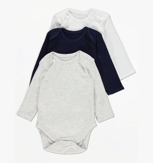 White, Grey and Navy Long Sleeve Bodysuits.