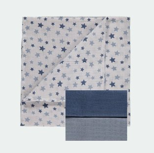 Pack of 3 blue muslin squares.