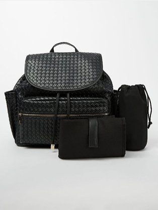 Black patterned 3 piece luggage set.