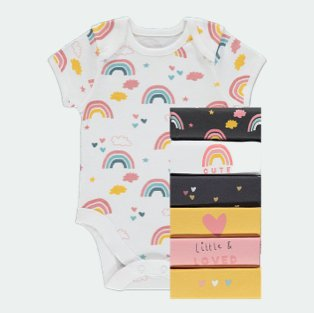 Pack of 7 assorted short sleeve baby bodysuits.