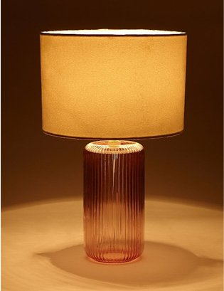 Brown glass base table lamp.