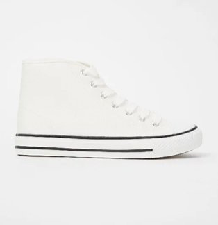 White canvas high top trainers.