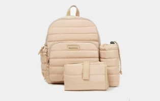 Beige padded baby changing backpack.