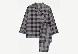 Grey check print woven pyjamas.