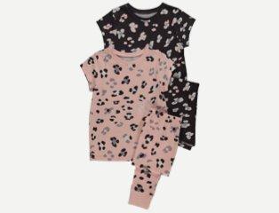 Pink leopard print short sleeve pyjamas 2 pack.