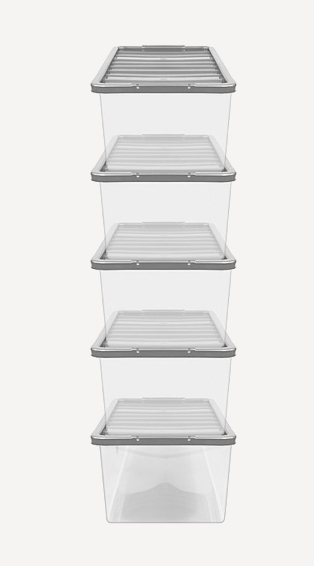 Five clear storage containers stacked on top of each other