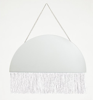 Semi-circle shaped fringe detail mirror
