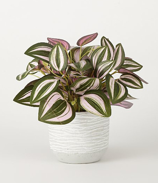 An artificial plant in a white pot