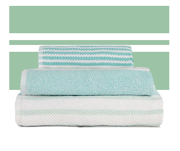 Designed with shades of light blue stripes, the towels in this range are made from 100% cotton