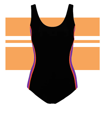 Make a splash poolside in this classic black swimsuit with deep purple side panels and neon orange trim