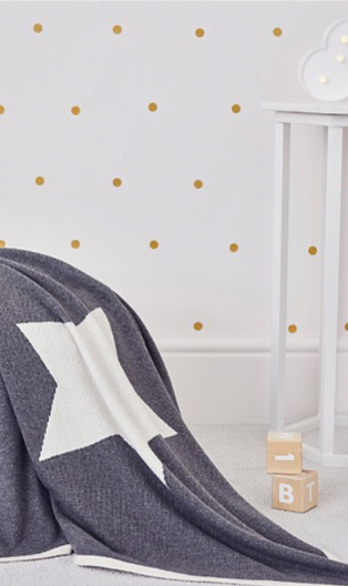 Billie Faiers reversible cream and grey star shawl in white nursery