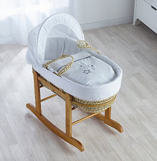 Kinder Valley white wish upon a star palm moses basket in white nursery