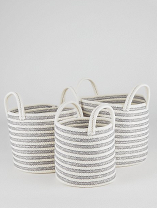 Three wicker baskets with handles