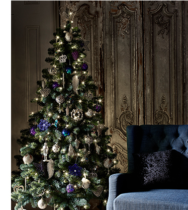 a fully decorated christmas tree with blue gold and purple decorations - Buy Fully Decorated Christmas Tree