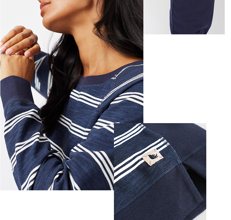 This navy sweater is designed with white horizontal stripes